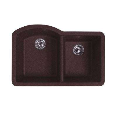 Titan Dual-Mount Quartz 32 in. 55/45 Double Bowl Kitchen Sink in Chocolate with Strainer