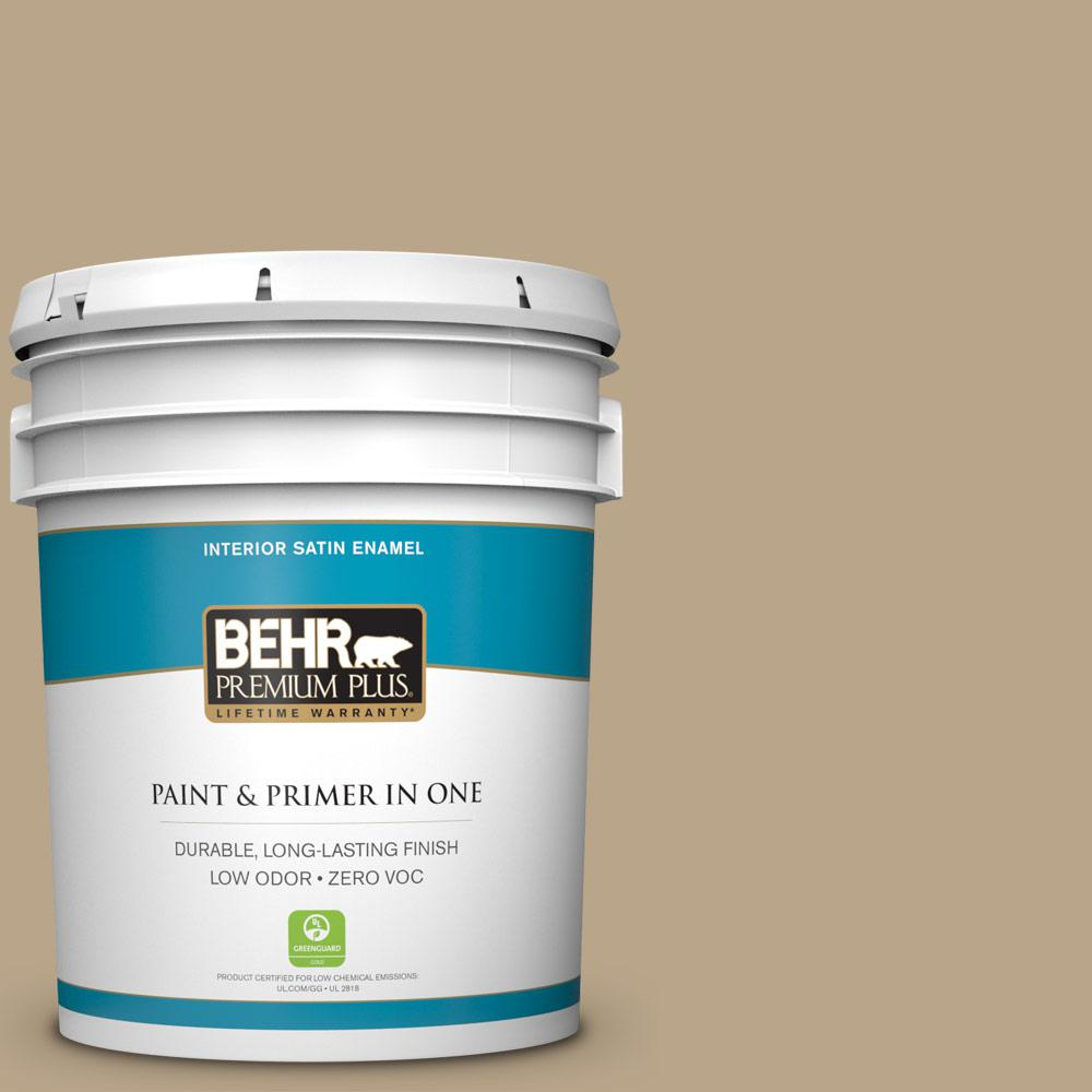 BEHR Premium Plus 5-gal. #710D-4 Harvest Brown Zero VOC Satin Enamel Interior Paint