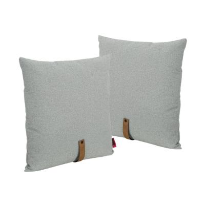 Edinburgh Gray, Autumn Tan Solid Polyester 25 in. x 25 in. Throw Pillow (Set of 2)