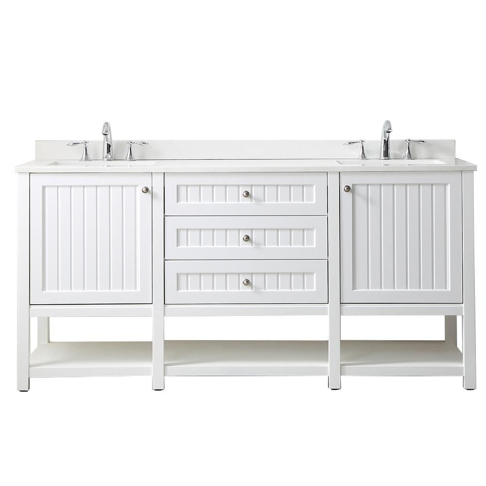 Martha Stewart Living Seal Harbor 72 in. W x 22 in. D Vanity in White with Quartz Vanity Top in Pure White with White Basins
