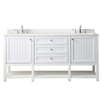 Seal Harbor 72 in. W x 22 in. D Vanity in White with Quartz Vanity Top in Pure White with White Basins