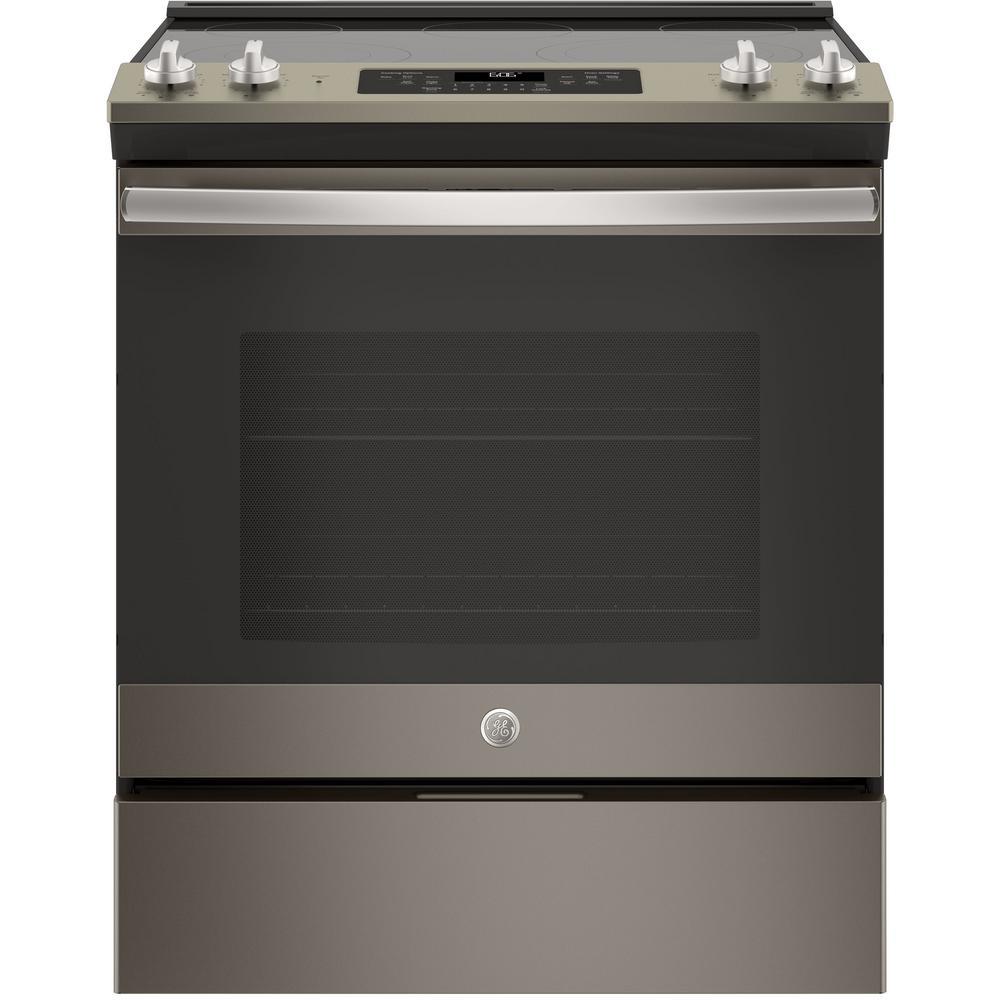 GE 5.3 cu. ft. Slide-In Electric Range with Self-Cleaning Oven in Slate, Fingerprint Resistant