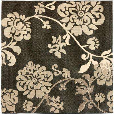 Courtyard Black Natural/Brown 7 ft. x 7 ft. Square Indoor/Outdoor Area Rug