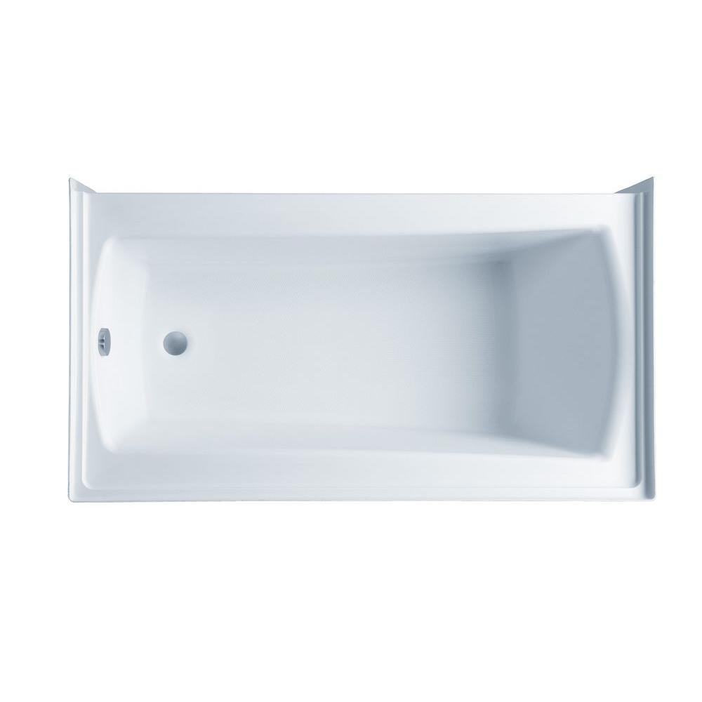 Acrylic Left Drain Rectangular Alcove Soaking Bathtub In