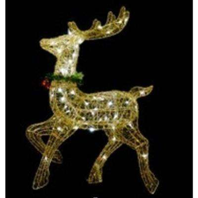 25 in. Lighted Gold Sisal Prancing Reindeer Christmas Outdoor Decoration