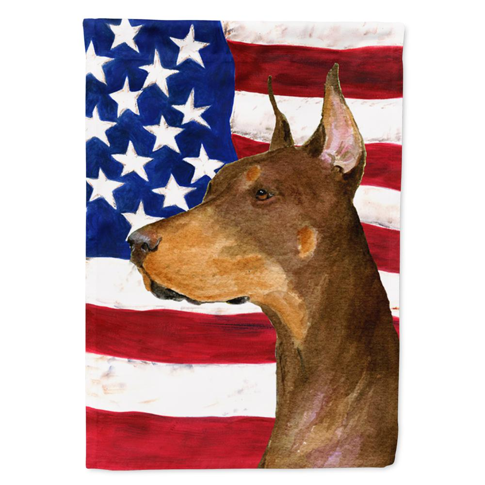 Carolines Treasures  SS4224GF USA American Flag with Doberman Flag Garden Size