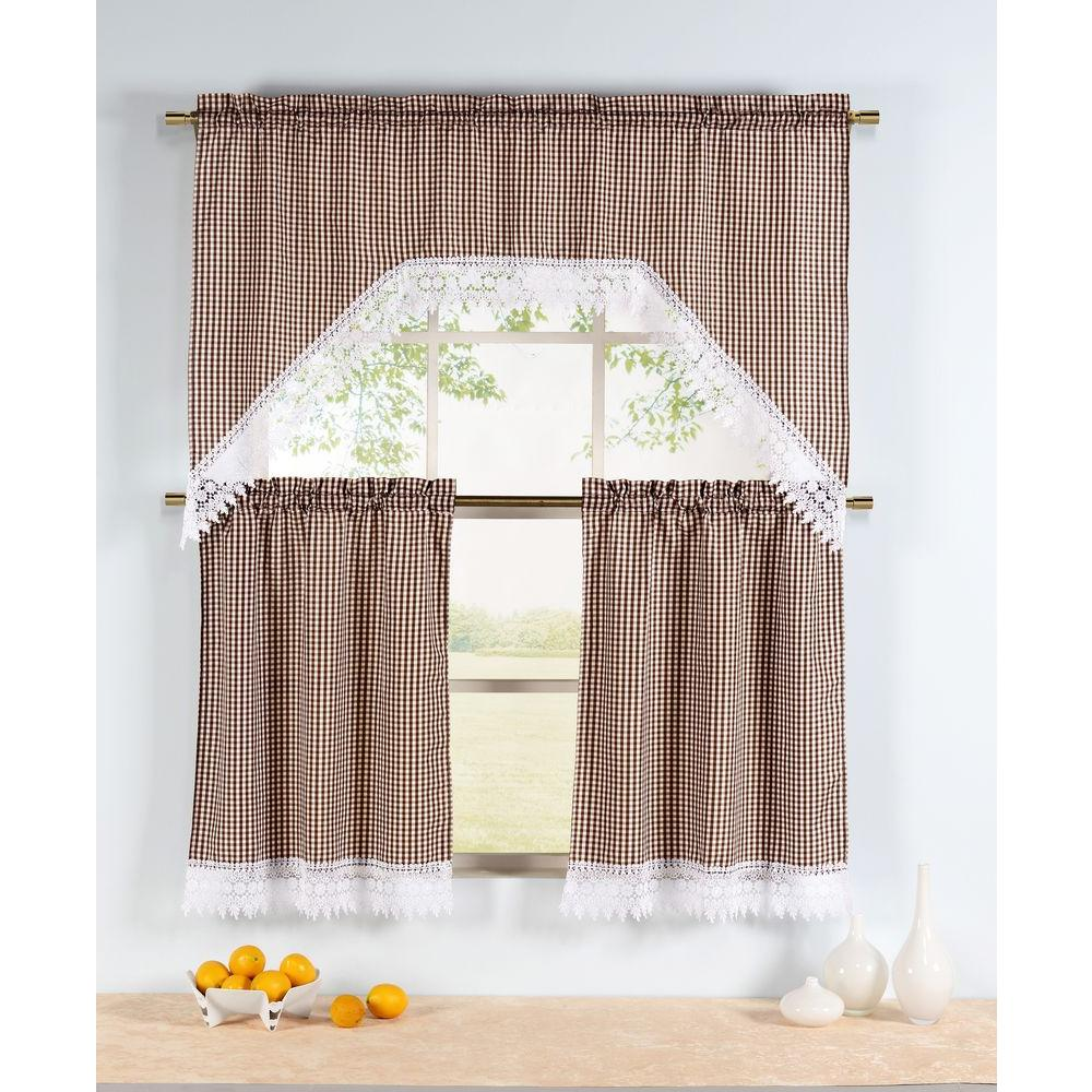 Semi-Opaque Checkered Chocolate Embroidered 3-Piece Kitchen Curtain Tier and