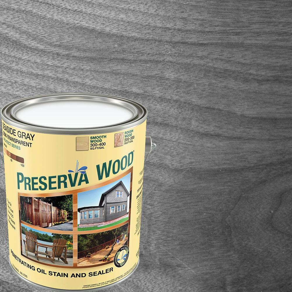 Exterior White Stain For Wood: Preserva Wood 1 Gal. Semi-Transparent Oil-Based Seaside