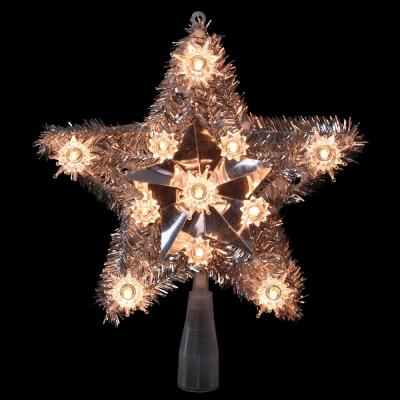 9 in. Lighted Silver Tinsel Star Christmas Tree Topper in Clear Lights