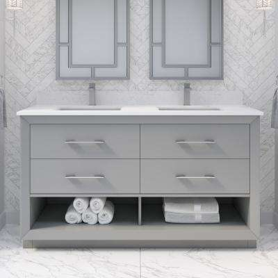 Rio II 60 in. W x 22 in. D Bath Vanity in Gray ENGRD Stone Vanity Top in White with White Basin Power Bar and Organizer