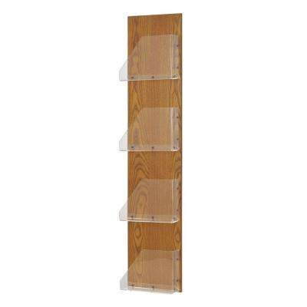 Princeton Wood Back/Acrylic 4-Pocket Display Rack in Medium Oak