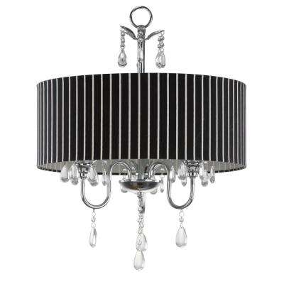 Abbeville 3-Light Chrome Chandelier with Black/White Shade