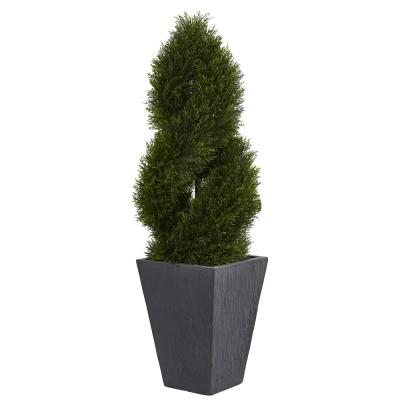 4 ft. High Indoor/Outdoor Cypress Double Spiral Topiary Artificial Tree in Slate Planter