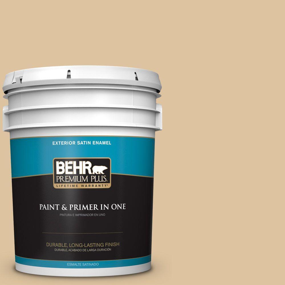 BEHR Premium Plus 5-gal. #S300-3 Almond Cookie Satin Enamel Exterior Paint
