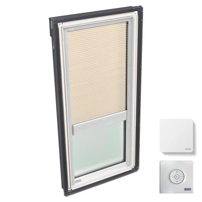 22-1/2 in. x 45-3/4 in. Fixed Deck Mount Skylight w/ Laminated Low-E3 Glass and Beige Solar Powered Room Darkening Blind