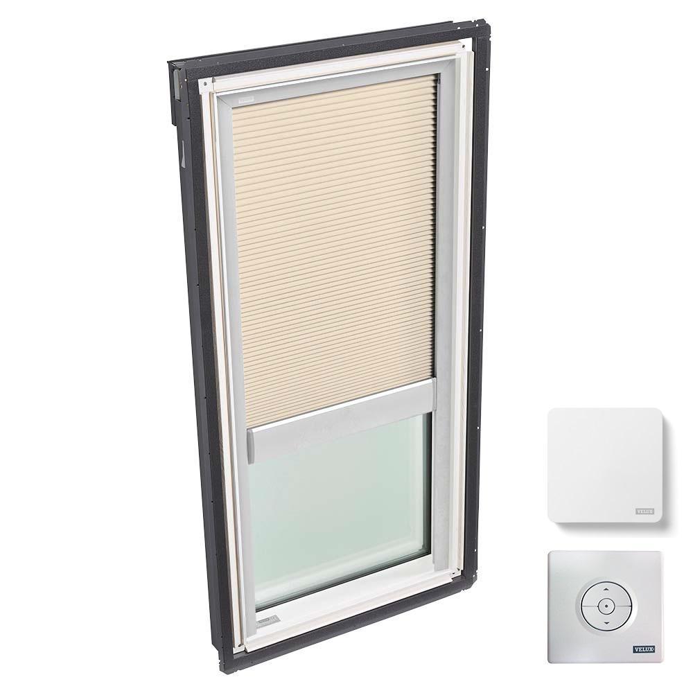 VELUX 30-1/16 in. x 54-7/16 in. Fixed Deck-Mount Skylight w/ Laminated Low-E3 Glass, Beige Solar Powered Room Darkening Blind