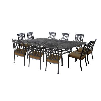 Morocco Aluminum 11-Piece Outdoor Dining Set with Sunbrella Brown Cushions