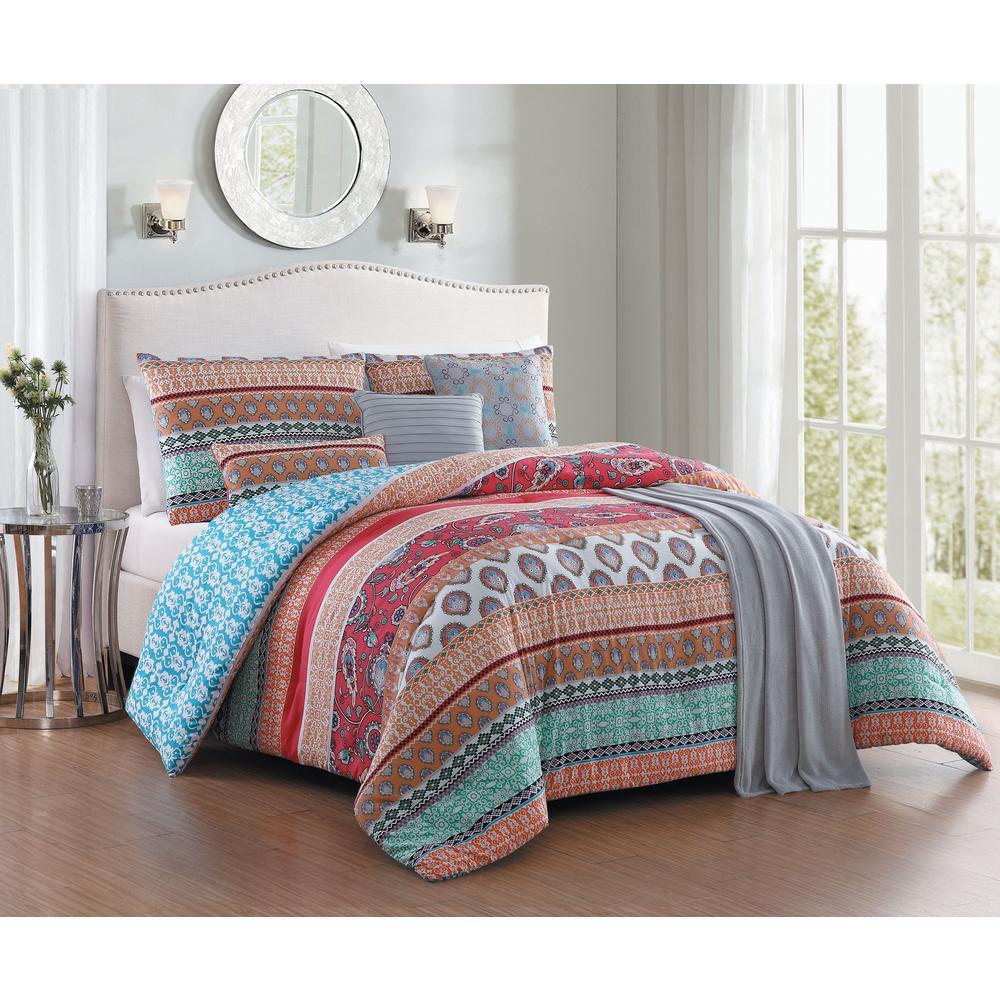 Martika 7-Piece Red Queen Comforter Set with Throw