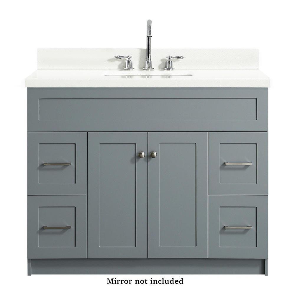 Ariel Hamlet 43 in. Bath Vanity in Grey with Quartz Vanity Top in White with White Basin