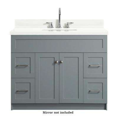 Hamlet 43 in. Bath Vanity in Grey with Quartz Vanity Top in White with White Basin