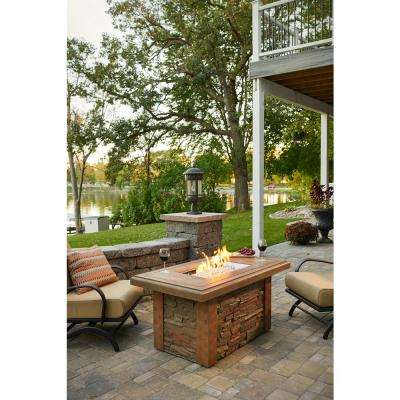 Sierra 49 in. x 23 in. Rectangular Supercast Natural Gas or Propane Fire Pit Table in Mocha with a Ledgestone Base