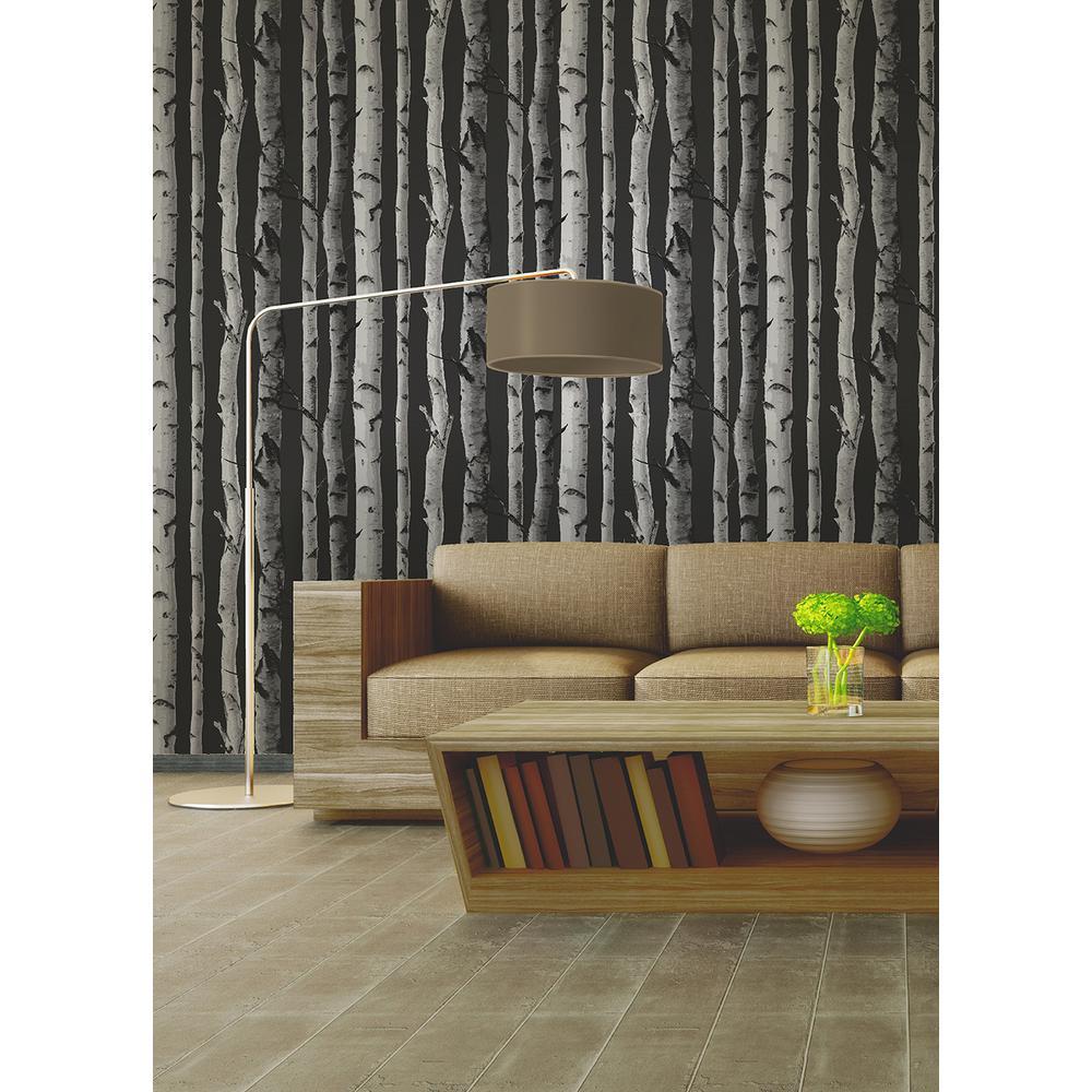56 4 Sq Ft Distinctive Black Birch Tree Wallpaper