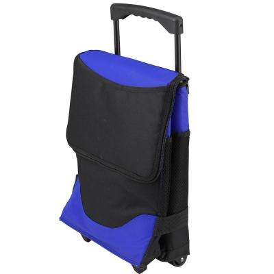 Insulated 6-Bottle Royal Blue Wine Carrier on Wheels