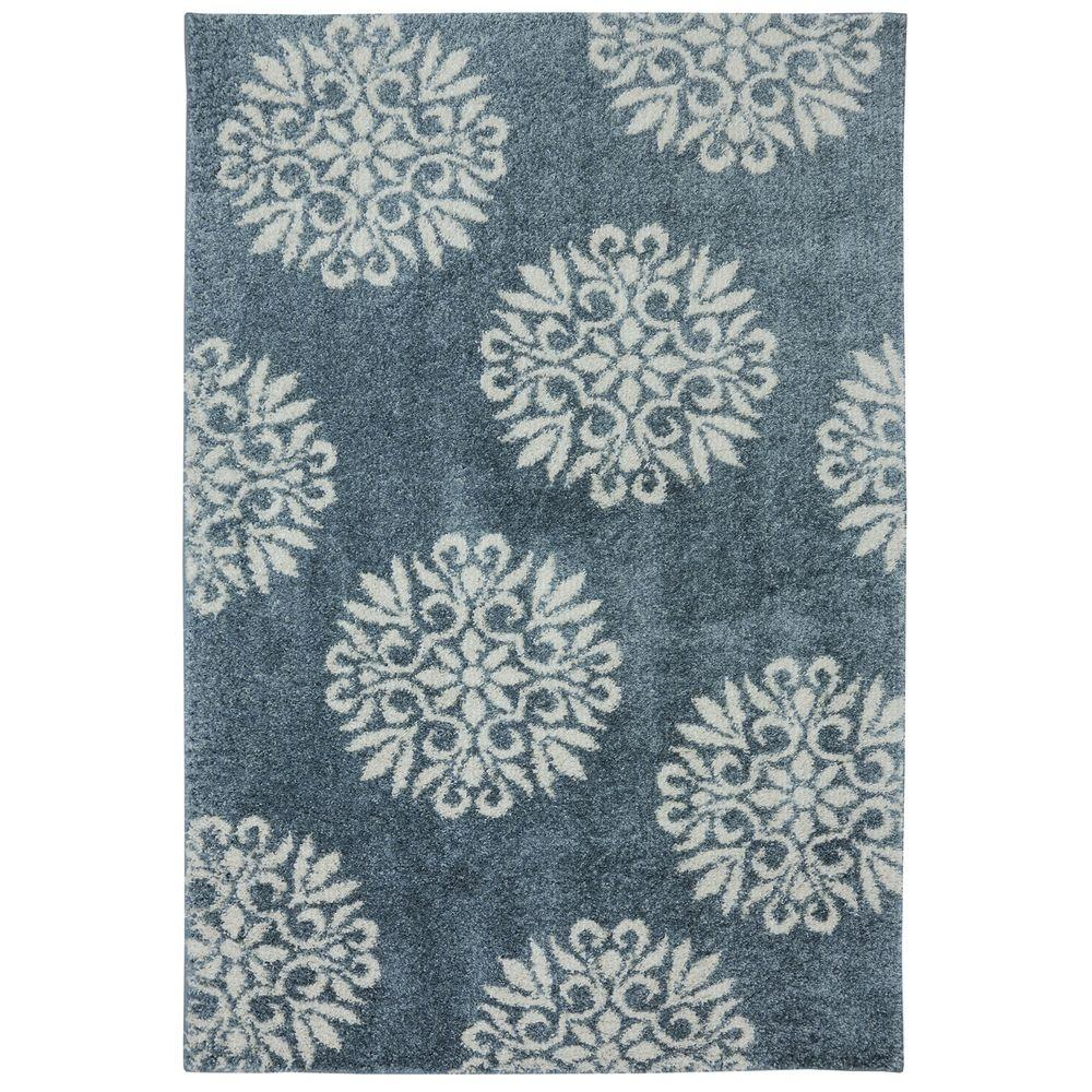 Exploded Medallions Blue Woven 8 Ft X 10 Area Rug