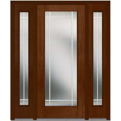 64 in. x 80 in. Internal Grilles Left-Hand Full Lite Clear Stained Fiberglass Mahogany Prehung Front Door with Sidelites
