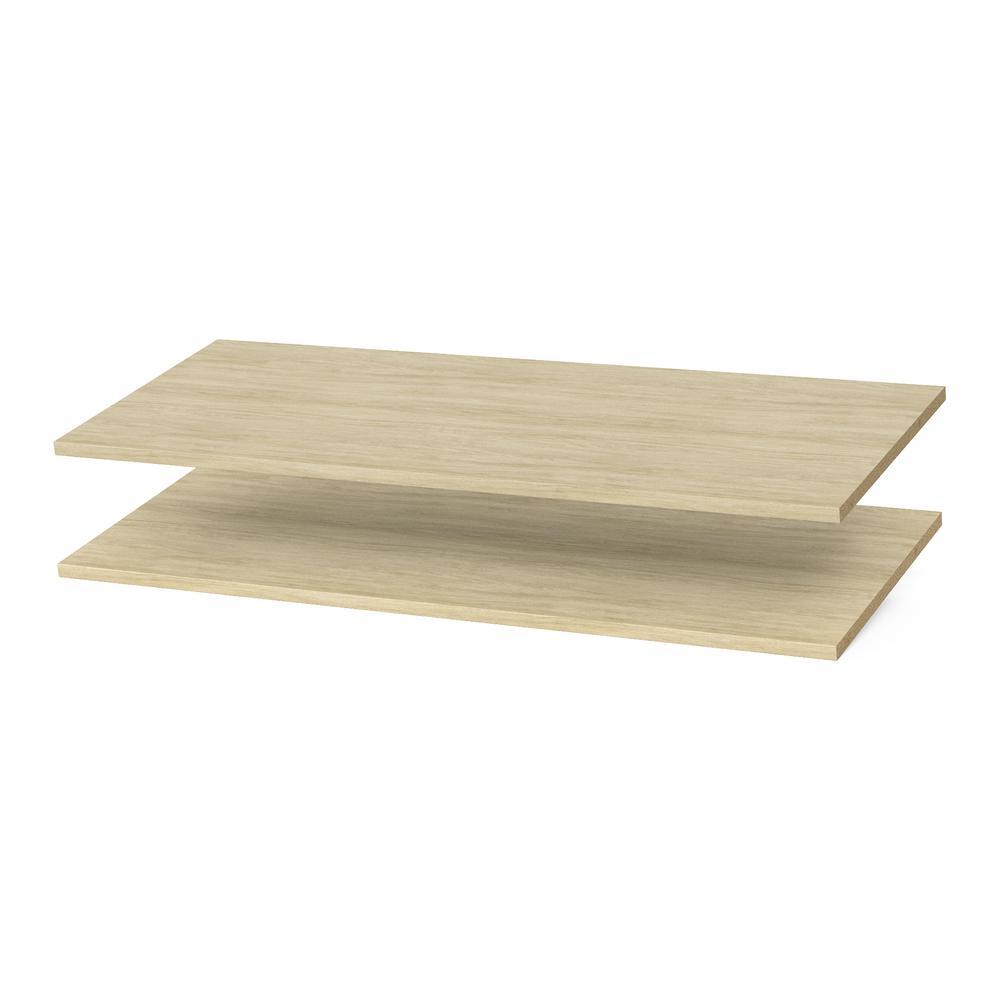 35 in. x 14 in. Harvest Grain Wood Shelves (2-Pack)