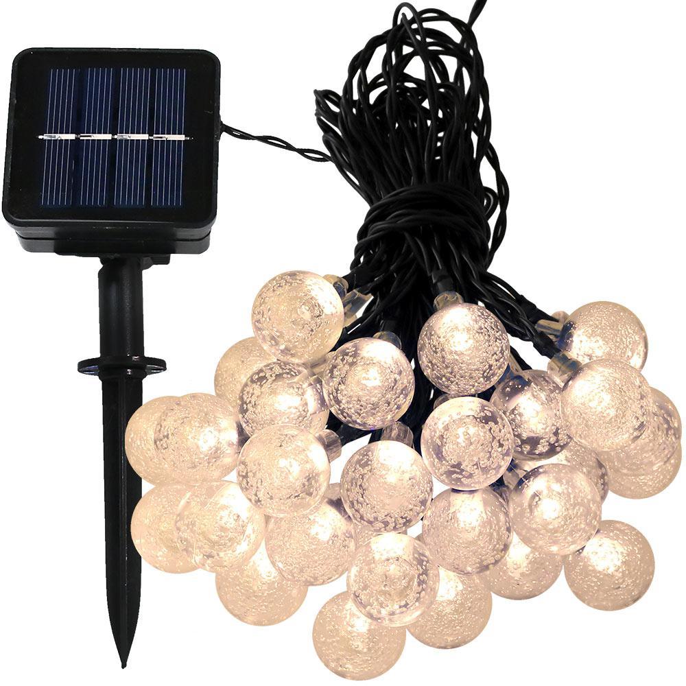 30-Light Outdoor 20 ft. Solar Globe LED String Light Set Warm White