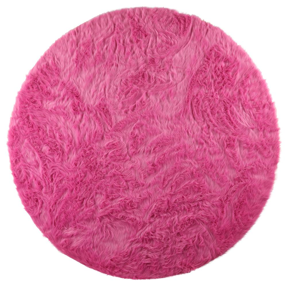 Home Decorators Collection Faux Sheepskin Hot Pink 8 Ft X Round Area