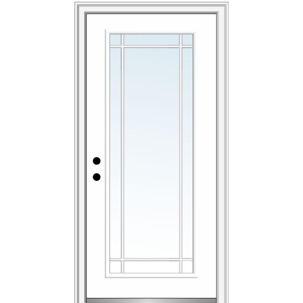 MMI Door 32 in. x 80 in. Prairie Internal Muntins Right-Hand Inswing Full Lite Clear Painted Steel Prehung Front Door