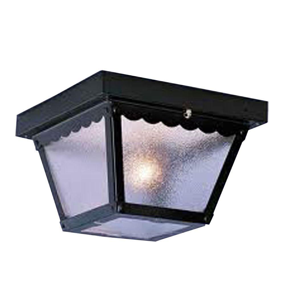 Lenor 2-Light Black Fluorescent Ceiling Semi-Flush Mount Light