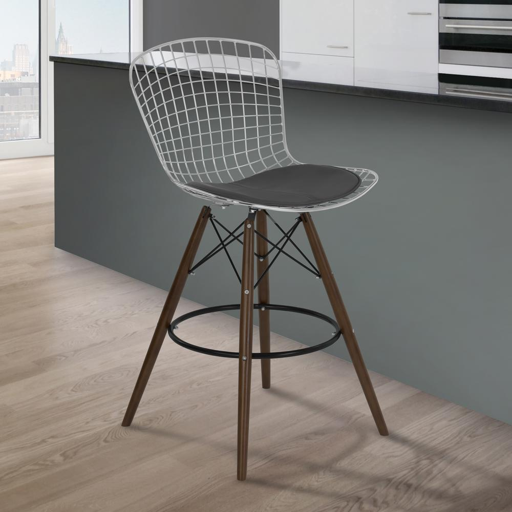Armen Living Taylor 28 In. Gray Faux Leather And Chrome Finish Wire Barstool