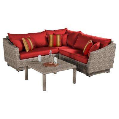 Cannes 4 Piece Patio Corner Sectional Set With Cantina Red Cushions