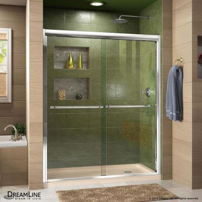 Duet 36 in. D x 60 in. W x 74.75 in. H Semi-Frameless Sliding Shower Door in Chrome with Right Drain Base