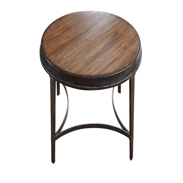 Gianna Industrial Brown Round End Table