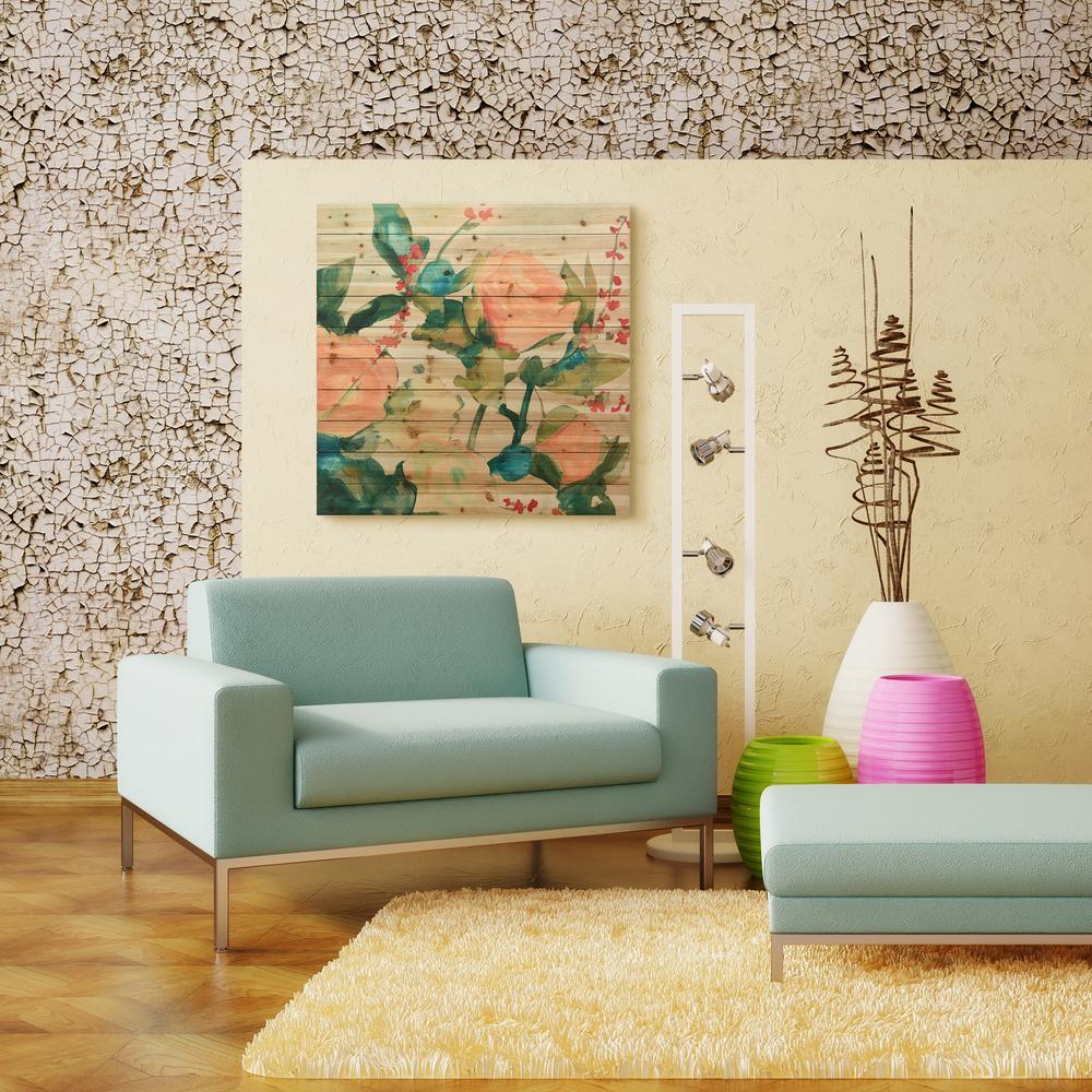 """40 in. x 40 in. """"June Bouquet 1"""" Arte de Legno Digital Print on Solid Wood Wall Art"""