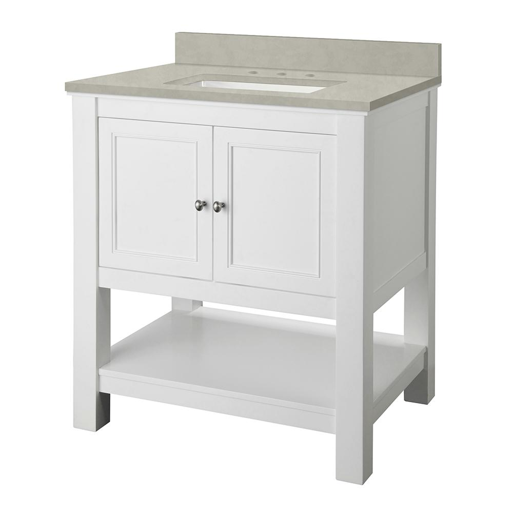 Home Decorators Collection Gazette 31 in. W x 22 in. D Vanity Cabinet in White with Engineered Marble Top in Dunescape with White Sink