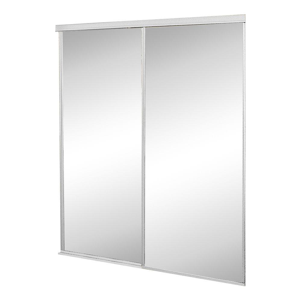 Contractors Wardrobe 60 in. x 96 in. Concord Mirrored White Aluminum Interior Sliding Door