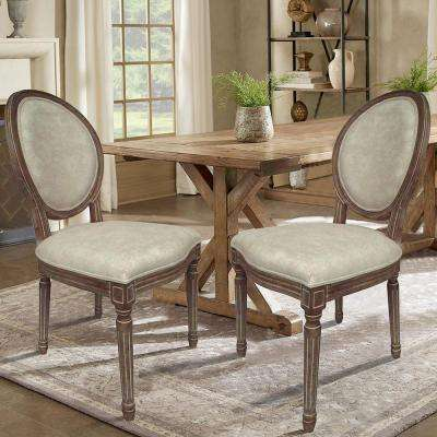 louis beige wooden dining chair set