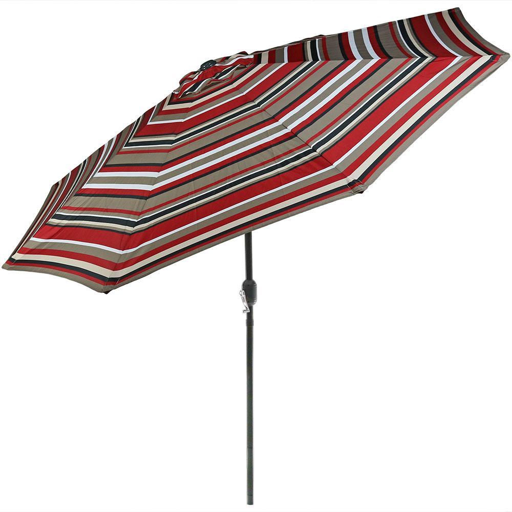 9 ft. Aluminum Market Tilt Patio Umbrella in Awning Stripe