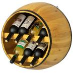 Wooden Brown Hanging Wine Barrel Wine Rack 7 Bottle Capacity