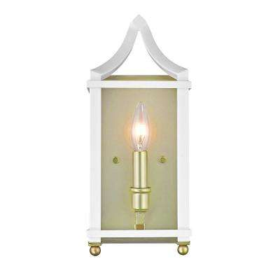 Leighton 1-Light Satin Brass and White Wall Sconce Light