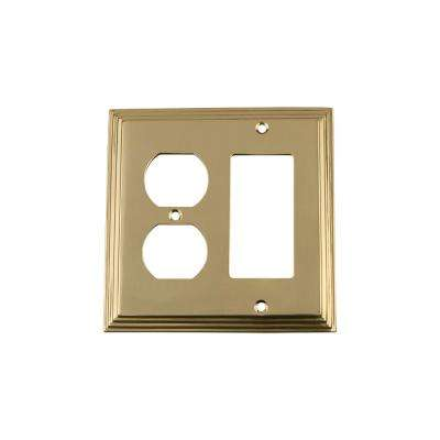 Deco Switch Plate with Rocker and Outlet in Unlacquered Brass