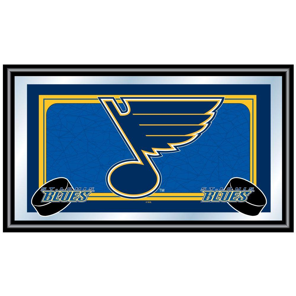Trademark NHL St. Louis Blues Logo 15 in. x 26 in. Black Wood Framed Mirror