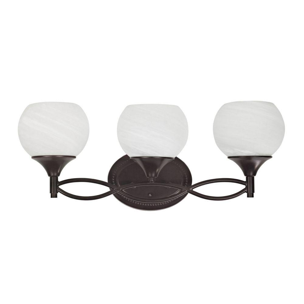 Chloe Lighting Transitional 3-Light Oil Rubbed Bronze Bath Vanity Wall Fixture with Alabaster Glass Shade