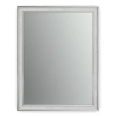 21 in. W x 28 in. H (S1) Framed Rectangular Standard Glass Bathroom Vanity Mirror in Chrome and Linen
