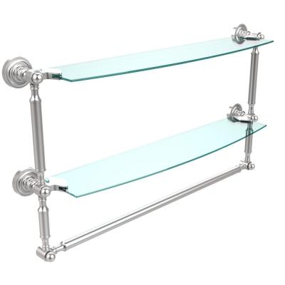 Dottingham 24 in. L  x 15 in. H  x 5 in. W 2-Tier Clear Glass Bathroom Shelf with Towel Bar in Satin Chrome